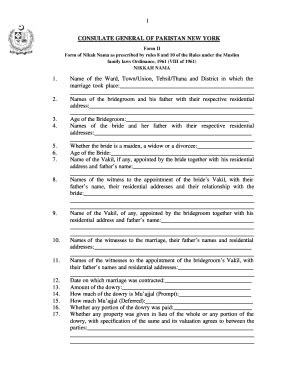 Nikah Nama Form In Urdu From India - Fill Online