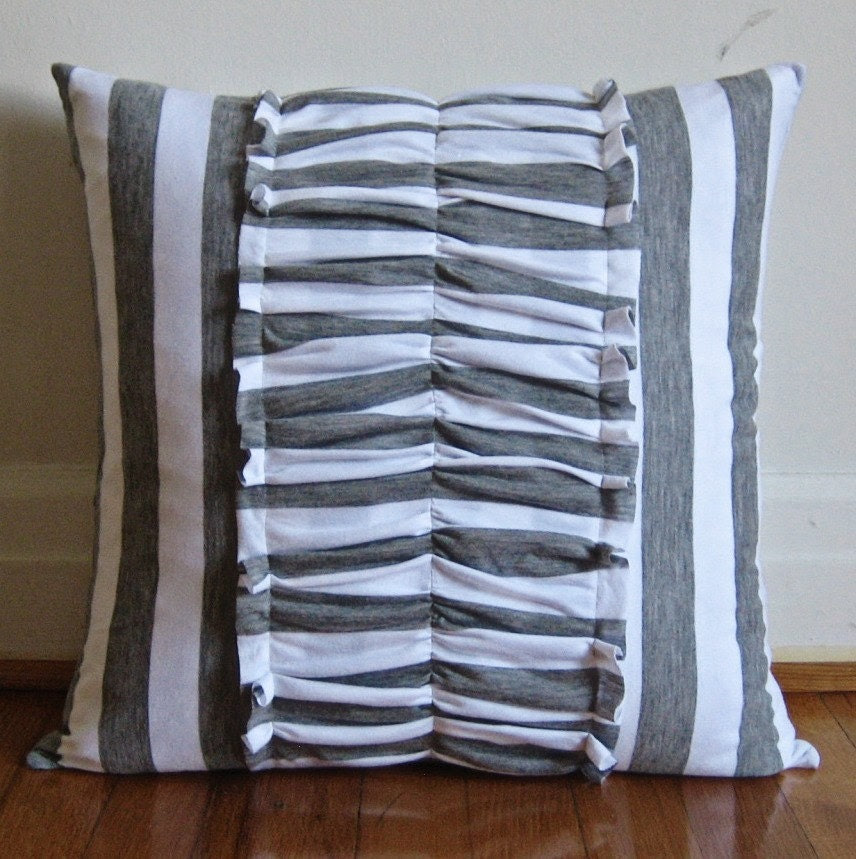Heather Gray and White Striped Pillow Cover with Ruching ON SALE 50% OFF