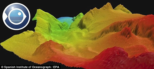 Threatening: A computer-generated image shows the underground volcano off the southern-most Canary Island, El Hierro