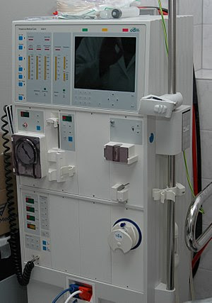 A hemodialysis machine, used to physiologicall...