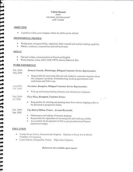 resume format  exemple de curriculum vitae gratuit en anglais