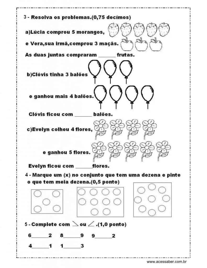 Avaliacao De Matematica 1º Ano Acessaber