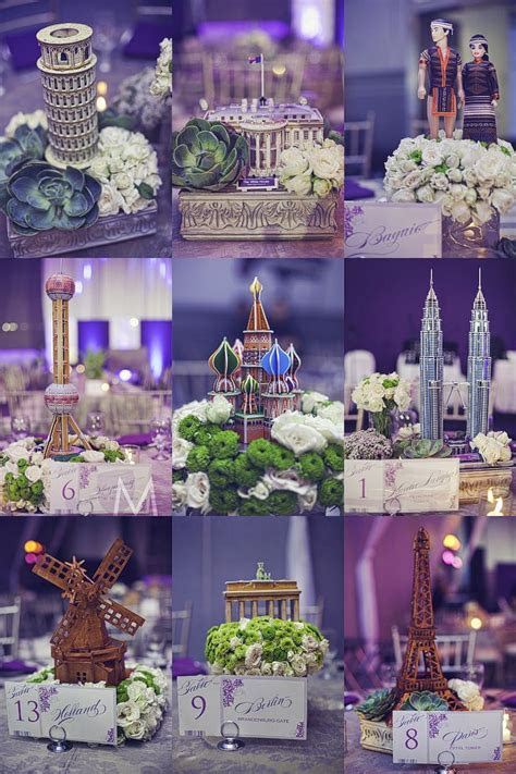 centerpieces :)   Travel Theme   Pinterest   Around the