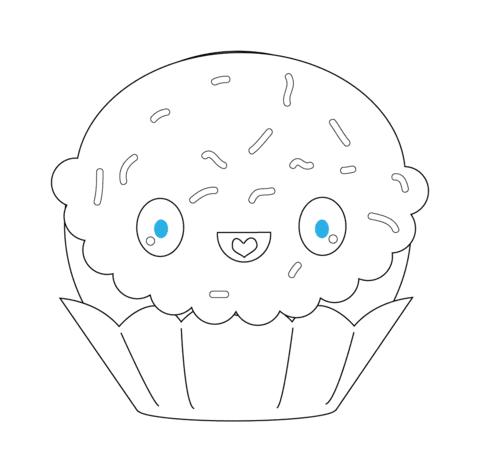 Dibujo De Cupcake Con Brillantes Kawaii Para Colorear Dibujos Para