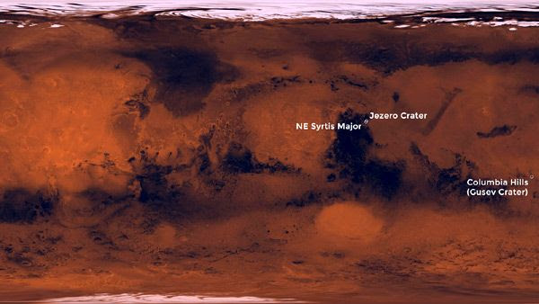 A global map of the Red Planet showing three potential landing sites for NASA's Mars 2020 rover.