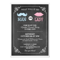 Trendy Chalkboard Gender Reveal Party Invitation