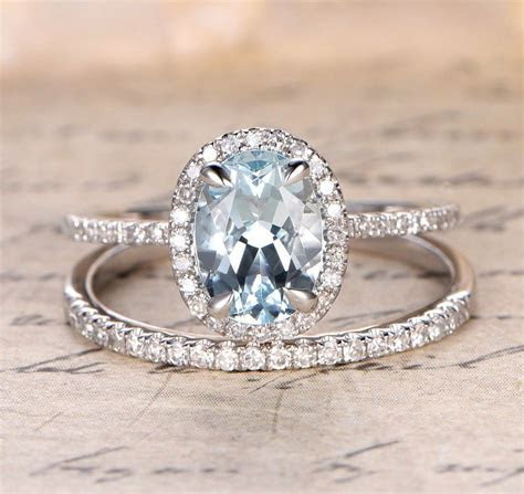 Oval Aquamarine Engagement Ring Sets Pave Diamond Wedding