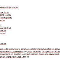 Surat Rayuan Kerja Semula In English Malacca C