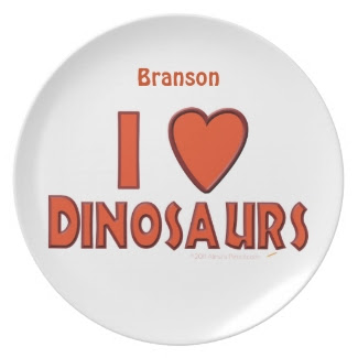 I Love Dinosaurs Personalized Name Dinner Plate