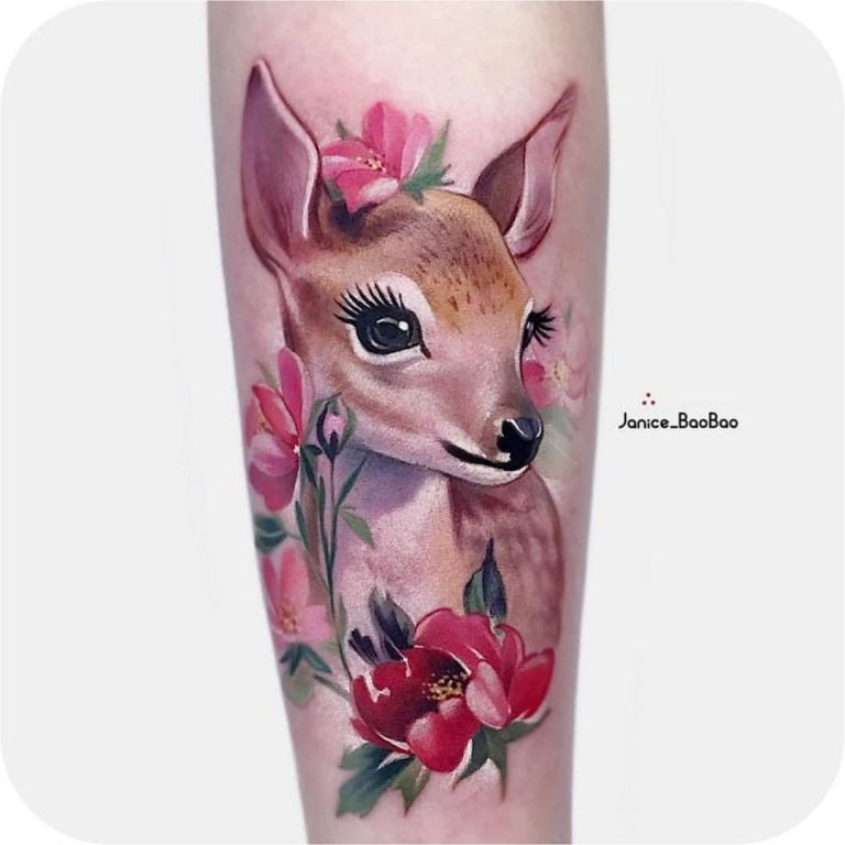 Cute Little Fawn Tattoo By Janice Baobao
