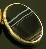 British banded onyx cufflinks. (J9224)