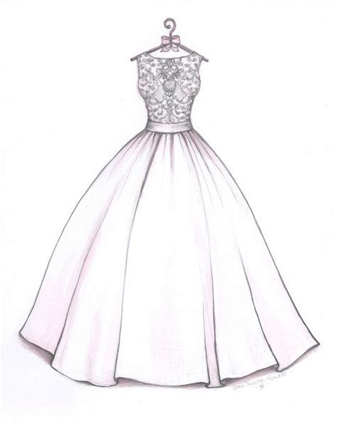 Ball Gown wedding dress sketch by Catie Stricker Howell