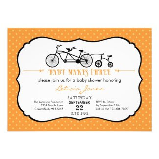 Tandem Bicycle Unisex Baby Shower Invitation