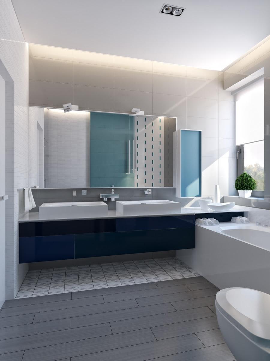 modern vibrant blue bathroom 1 | Interior Design Ideas.