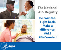 Collage of people with text: Be counted. Fight back. Make a difference. The National ALS Registry #ALS #BeCounted
