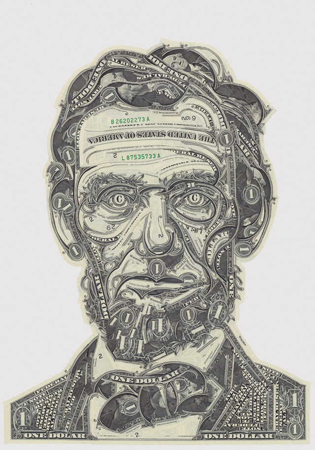 The Art of the Dollar: Meticulous Currency Collages by Mark Wagner paper currency collage