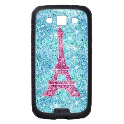 Girly Pink Eiffel Tower Trendy Teal Glitter Photo Galaxy SIII Covers