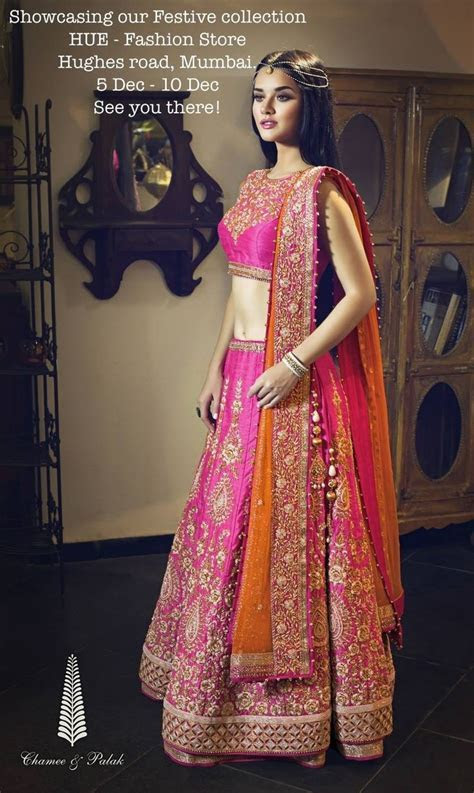 Chamee & Palak Pink Embroidered #Lehenga With Orange