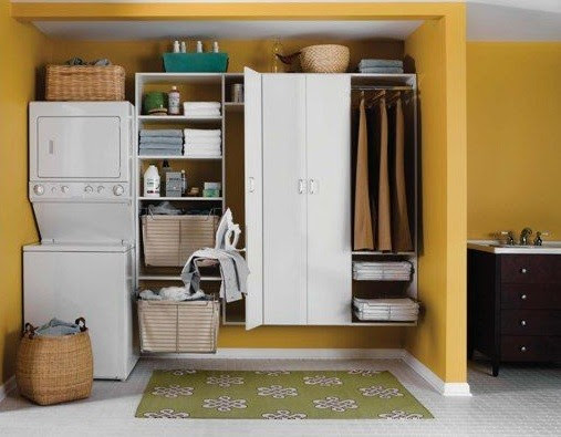 Laundry room cabinets with drying rack