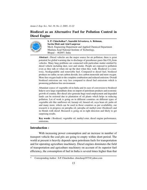 (PDF) Biodiesel as an Alternative Fuel for Pollution