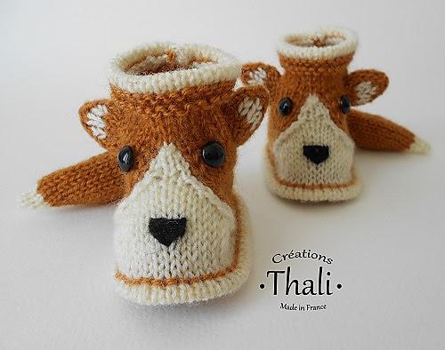 Modèle de Chaussons renard par Thali Créations gratuits au tricot
