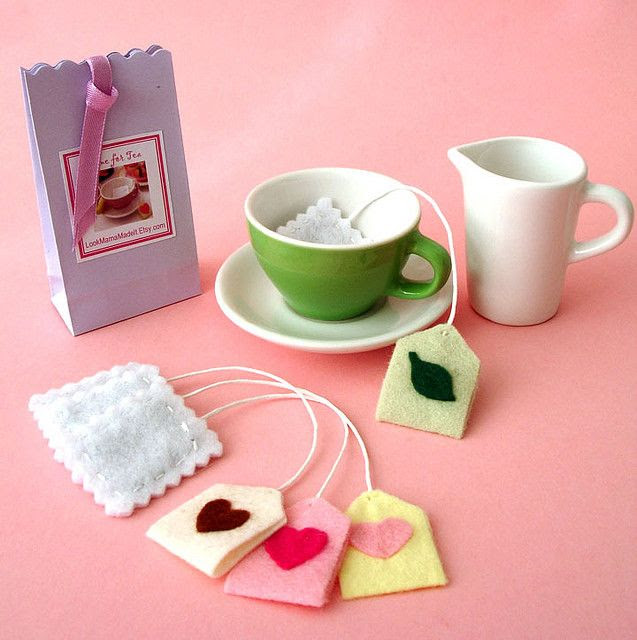 Felt tea bags...put actual smelly teas in for extra sensory experience