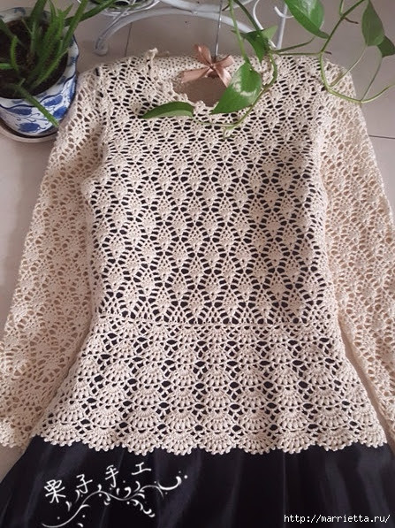White openwork crochet blouse.  Diagrams (16) (447x597, 276Kb)