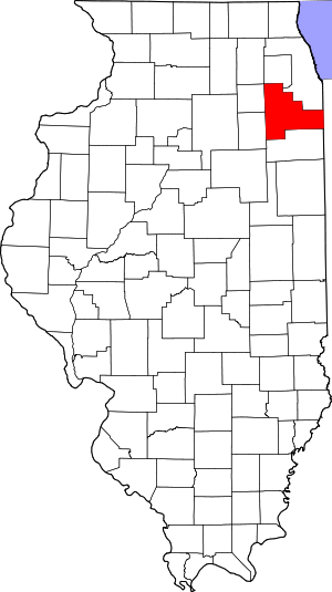Map of Illinois highlighting Will County