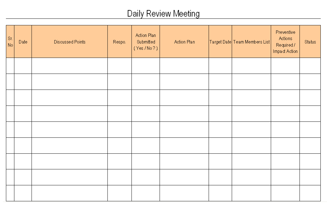 Daily Review Meeting format| Samples | Word Document Download