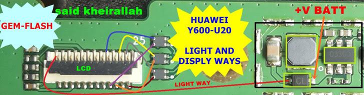Huawei Y600-U20 Display Problem Solution Jumper Ways