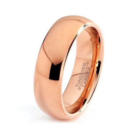 Mens Tungsten Carbide Wedding Band Ring 7mm 14k Rose Gold