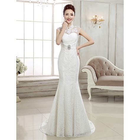 Trumpet/Mermaid Sweep/Brush Train Wedding Dress  High Neck