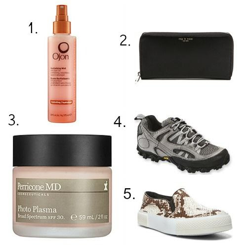 Ojon Detangler - Perricone MD Sunscreen - Rag and Bone Wallet - Patagonia Hiking Shoes - The Blone Salad x Steve Madden Sneakers