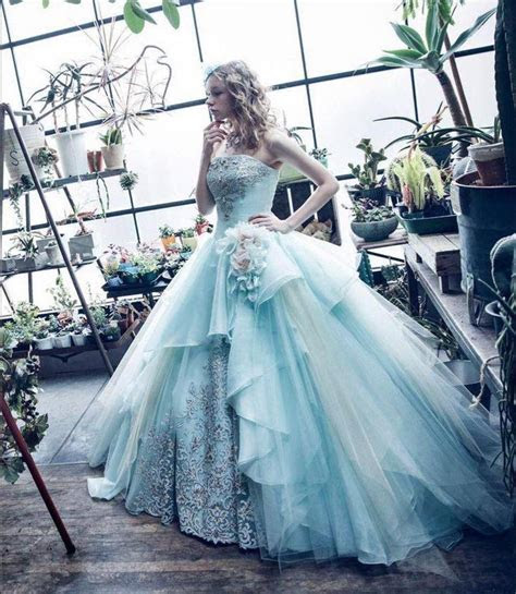 Light blue ball gown, layered skirts, embroidery and