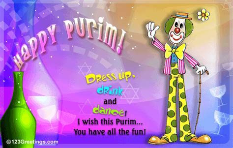 Dress Up, Drink And Dance! Free Purim eCards, Greeting