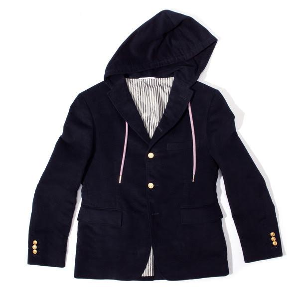307-Thom Browne Hooded Moleskin Sport Coat-5-1