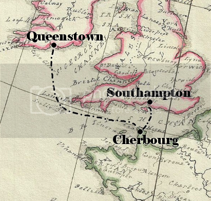 Map of Titanic's route from Southampton to Cherbourg to Queenstown.