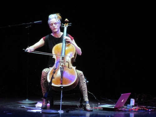 Zoe Keating working wonderous melodies on her cello and laptop