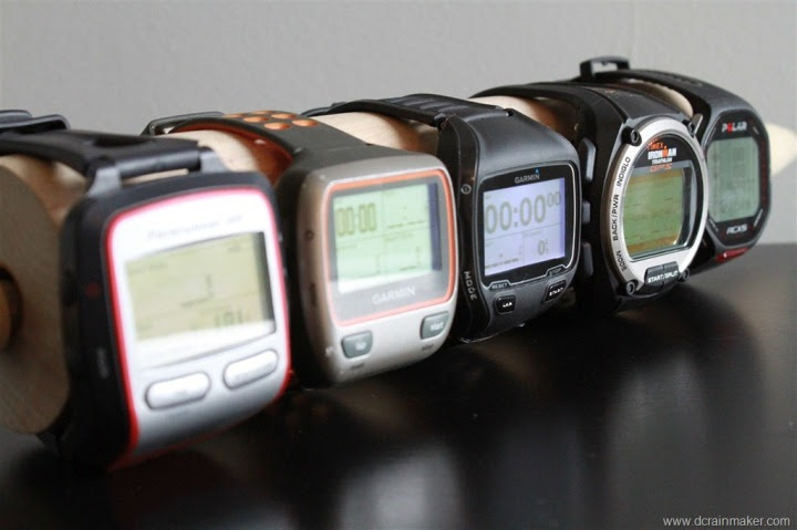 Garmin FR305, FR310XT, FR910XT, Timex Global Trainer and Polar RCX5 size comparison