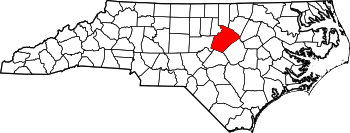 Map of North Carolina highlighting Wake County