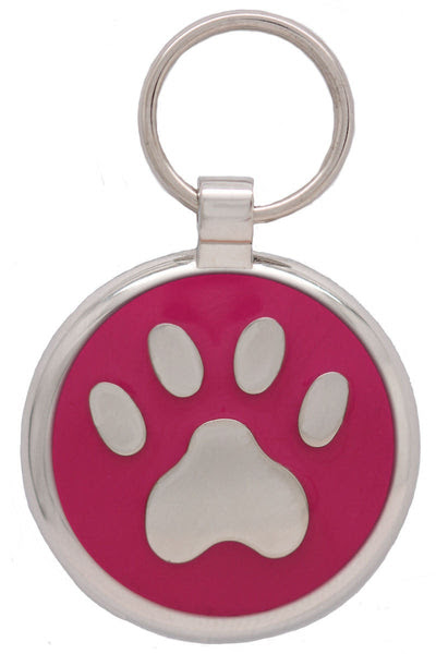Pink Pawprint Pet Tag Pawprint Pet Tags