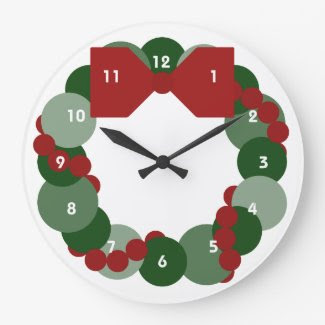Geometric Christmas Wreath Clocks