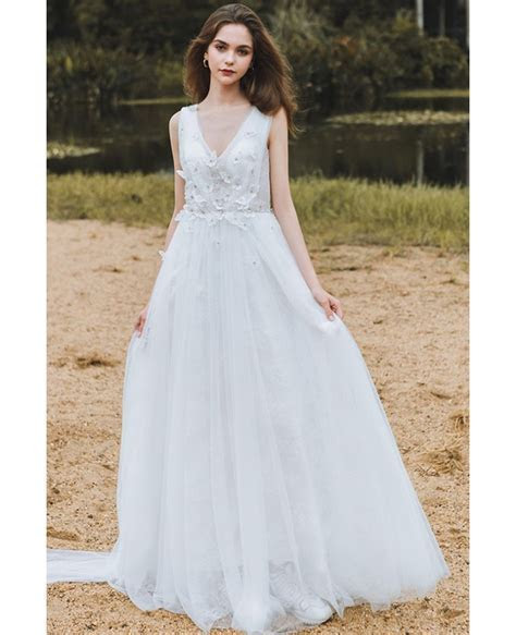 Flowy A Line Lace Beach Wedding Dress Boho Low Back 2018