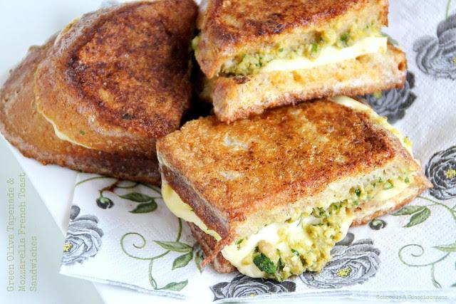 Green Olive Tapenade & Mozzarella French Toast Sandwiches 3
