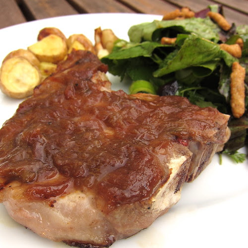 Pork Chop with Rhubarb Honey Sauce