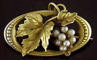 Ostby & Barton grape leaf brooch. (J9077)