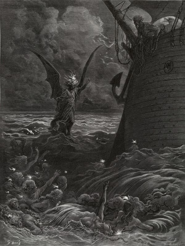 The Death-Fires Danced at Night - from The Rime of the Ancient Mariner - by Gustave Dore (H. Pisan, engraver)