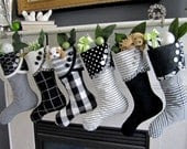 Christmas Stocking Black & White Graphic No. 2 - droopy toed style - SouthHouseBoutique