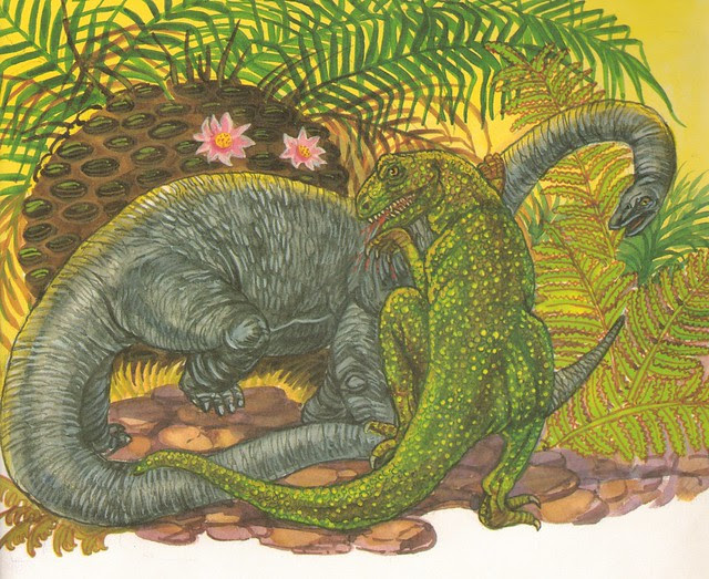 Allosaurus Chomps Into a Diplodocus