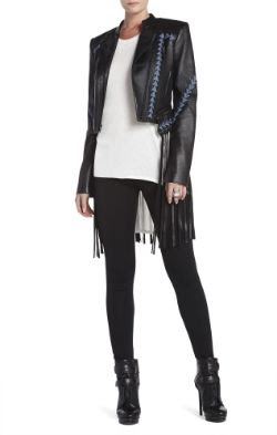 BCBGMAXAZRIA Grant Fringed Leather Jacket